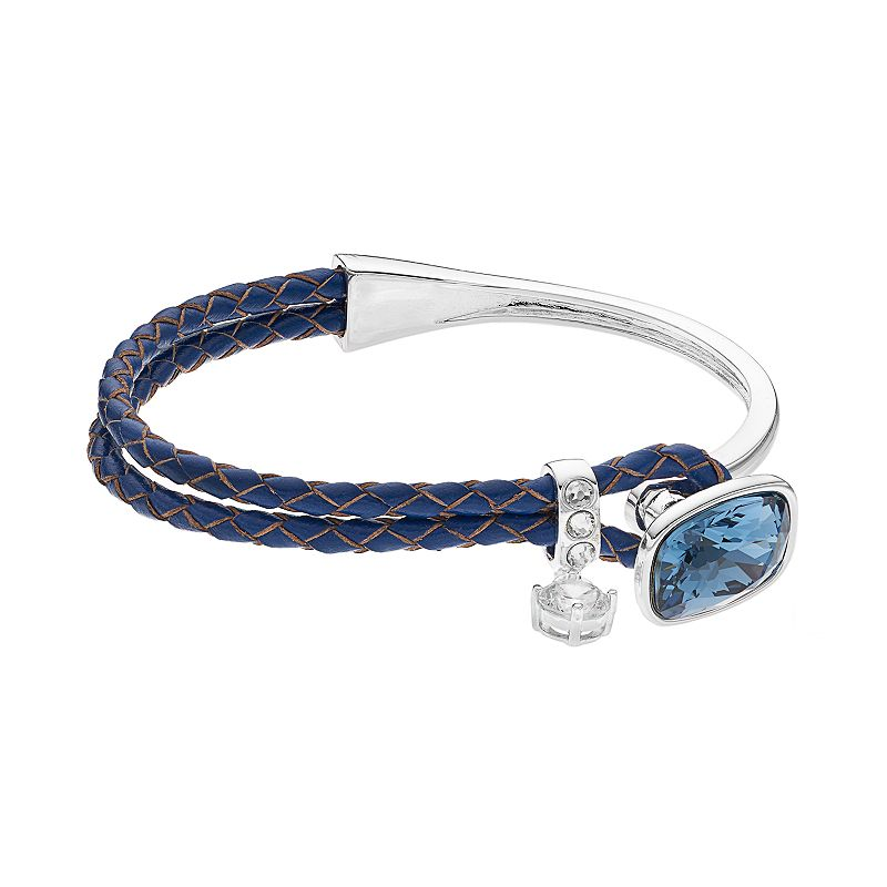 Crystal Brilliance Silver Plated Braided Blue Faux Leather Bracelet