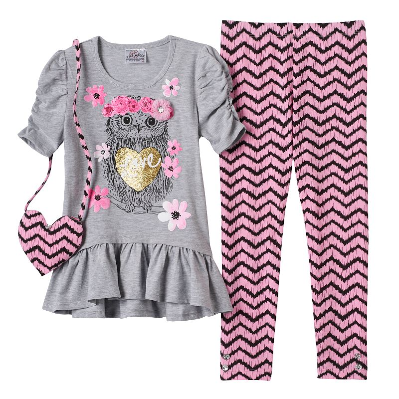 Girls 4-6x Knitworks Glitter Owl Tunic & Chevron Leggings Set with Purse