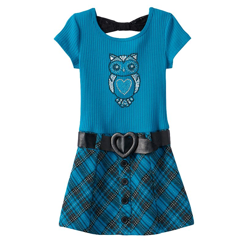 Girls 4-6x Knitworks Ribbed Plaid Sweater Dress with Belt