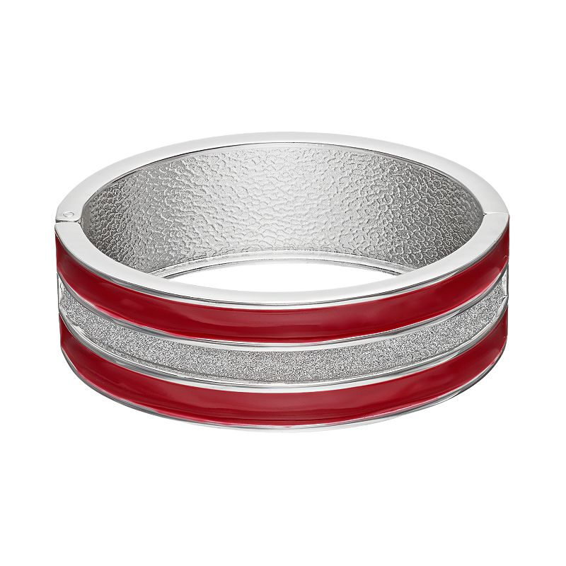 Striped Red Hinged Bangle Bracelet