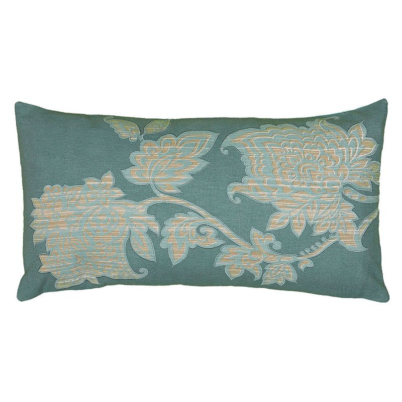 Rizzy Home Oblong Violet Floral Throw Pillow