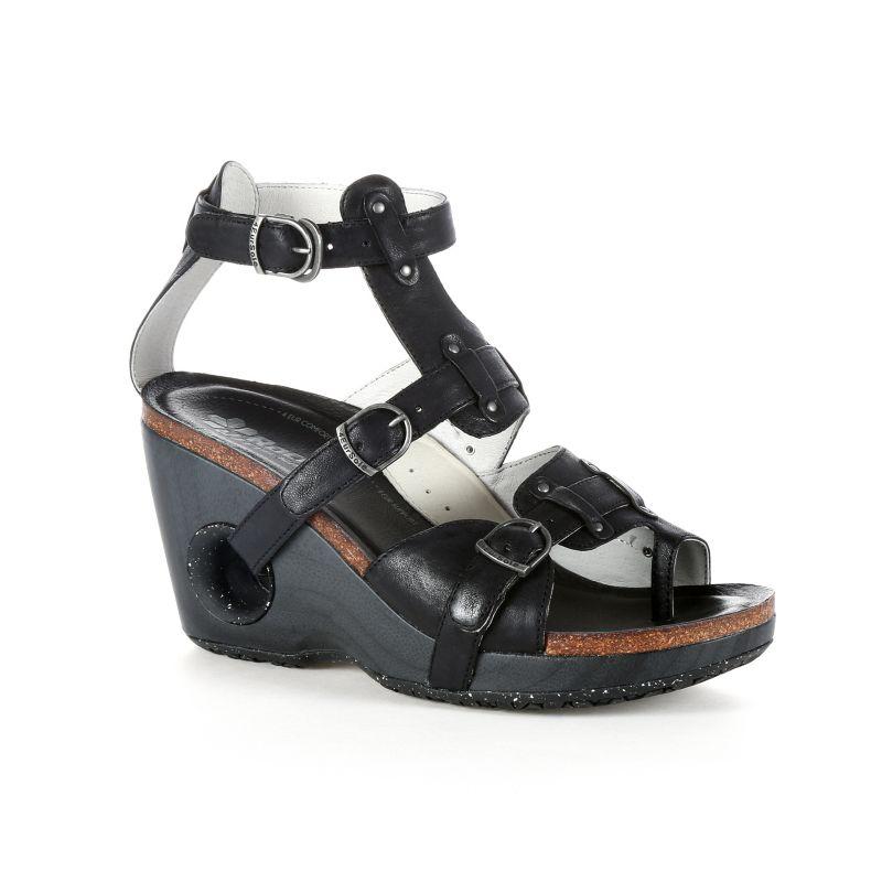 Rocky 4EurSole Set Free Women's Toe-Ring Wedge Sandals, Size: 36, Black thumbnail