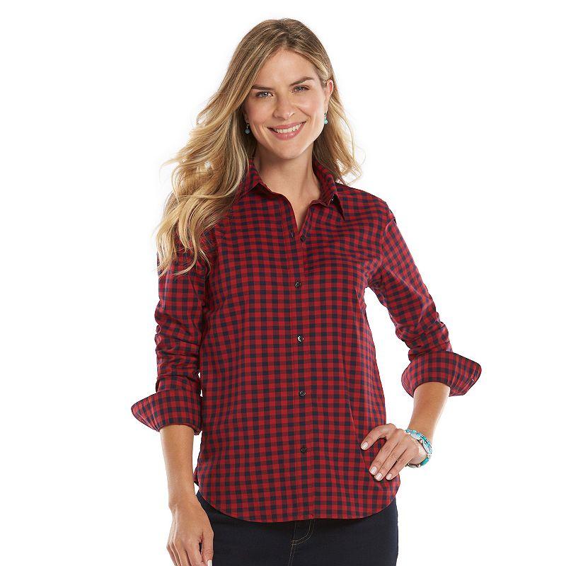 Women's Chaps Gingham Button-Down Shirt