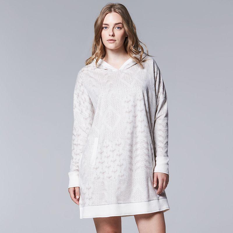 Plus Size Simply Vera Vera Wang Pajamas: Close Knit Microfleece Hooded Sleep Poncho