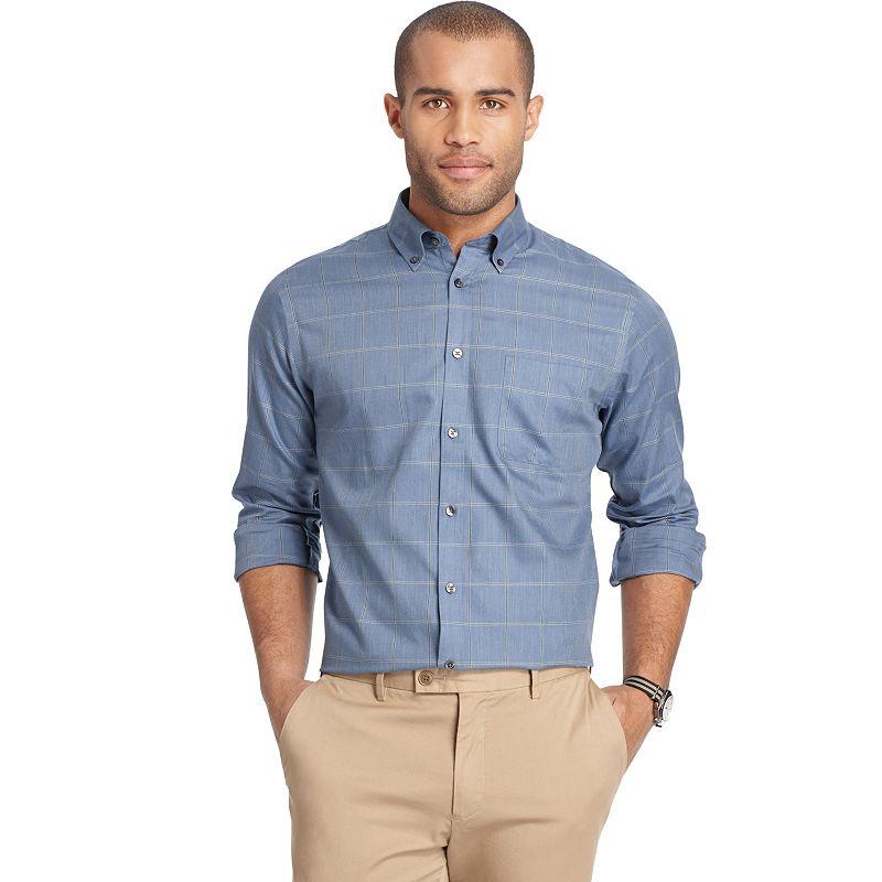 Big & Tall Van Heusen Classic-Fit Grid No-Iron Button-Down Shirt