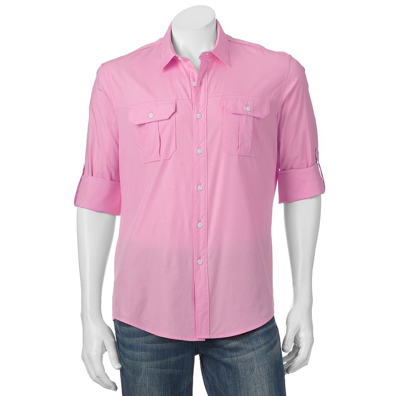Men's Apt. 9 Modern-Fit Solid Roll-Tab Casual Button-Down Shirt
