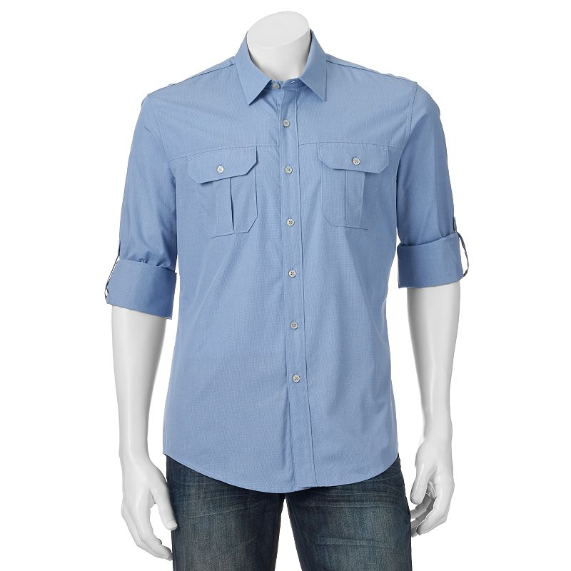 Men's Apt. 9® Modern-Fit Solid Roll-Tab Casual Button-Down Shirt