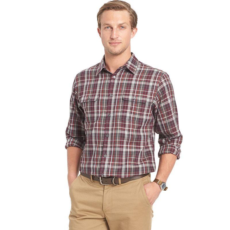 Big tall van heusen classic fit plaid button down shirt for Van heusen plaid shirts