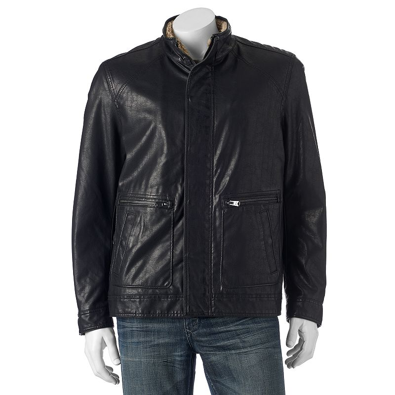 Big & Tall Marc Anthony Aviator Faux-Leather Jacket