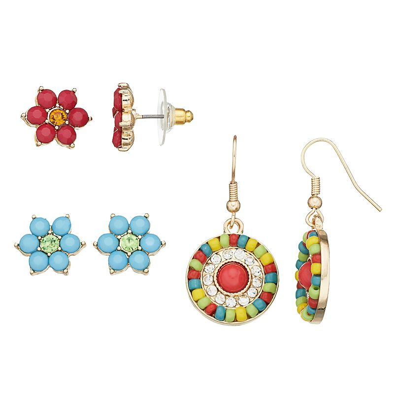 Flower Stud & Medallion Drop Earring Set