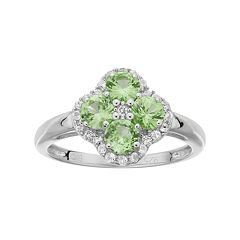 Sterling Silver Peridot & White Topaz Flower Ring by