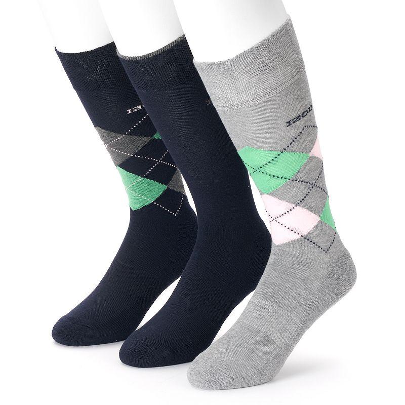 Men's IZOD 3-pack Argyle & Solid Cushioned Crew Socks