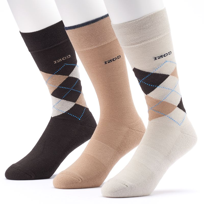 Men's IZOD 3-pack Argyle & Solid Cushioned Crew Socks