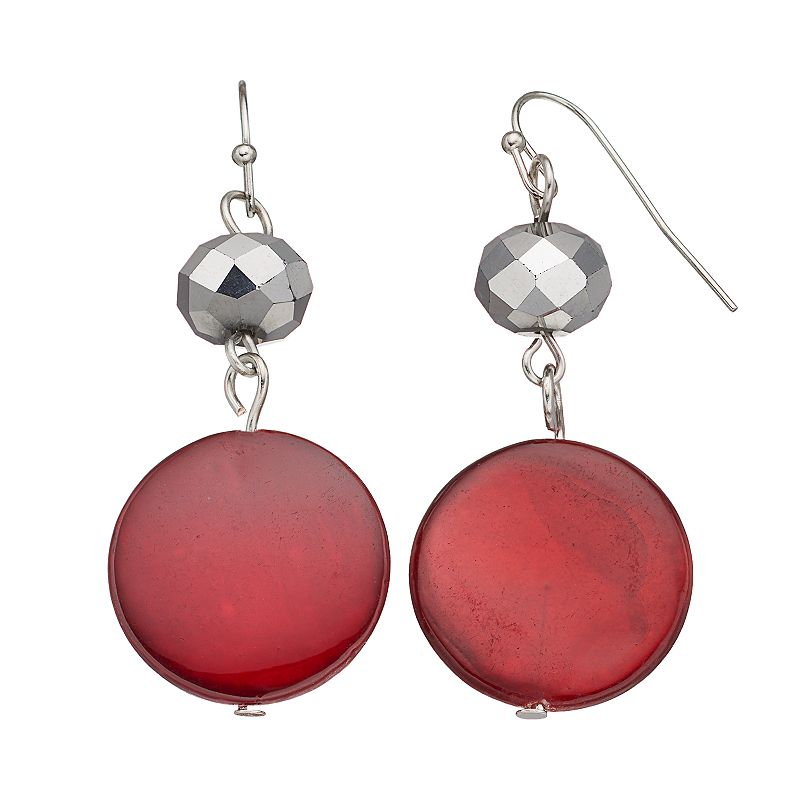 Red Composite Shell Disc Drop Earrings