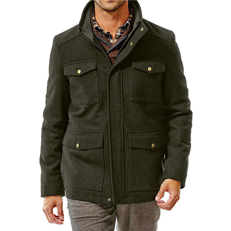 Men's Haggar® Quilted Melton Wool Blend Four-Pocket Military Jacket