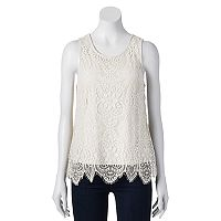 Juniors' Trixxi Scallop Lace Tank