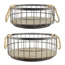 Click here to buy Stonebriar Collection Wire & Wood Coastal Basket 2-piece Set.