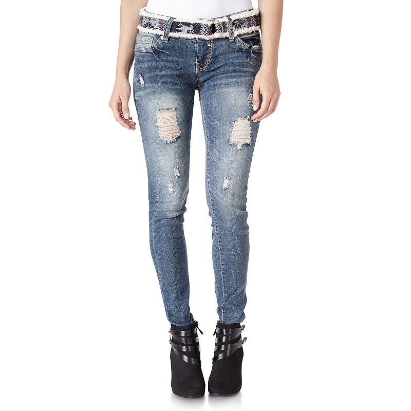Juniors' Wallflower Curvy Skinny Jeans