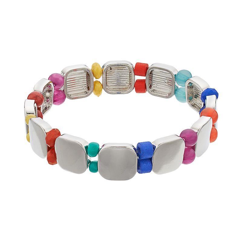 Beaded Square Link Stretch Bracelet