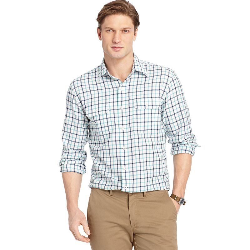 Men's IZOD Classic-Fit Mini-Plaid Casual Button-Down Shirt