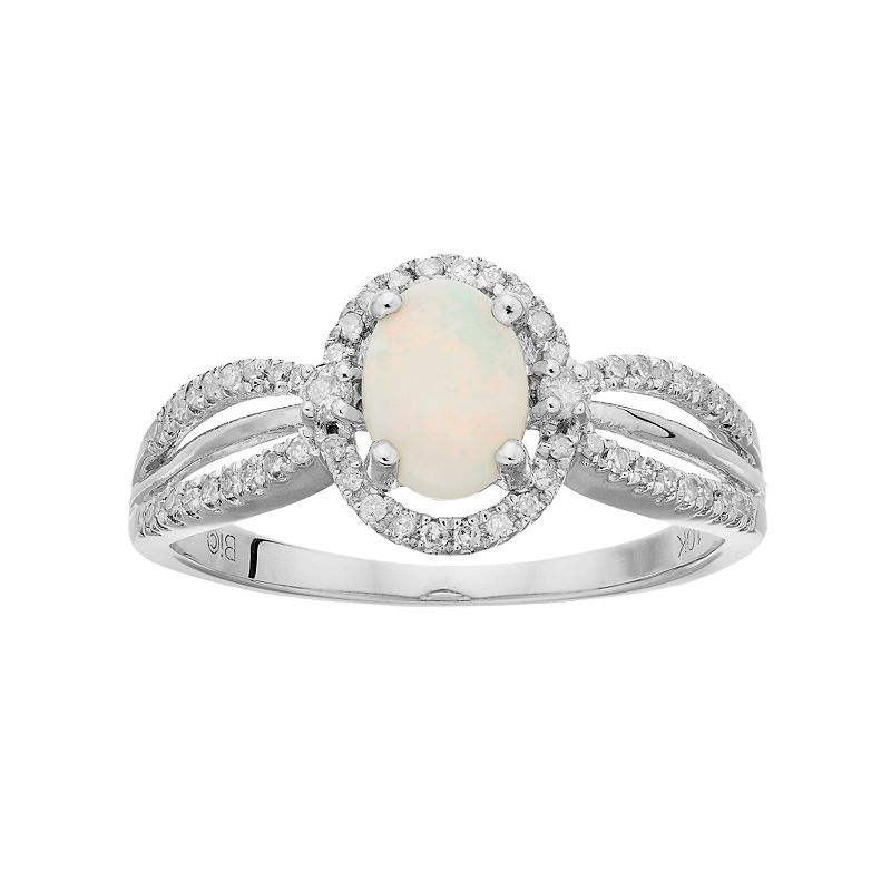 10k White Gold White Opal & 1/5 Carat T.W. Diamond Halo Ring