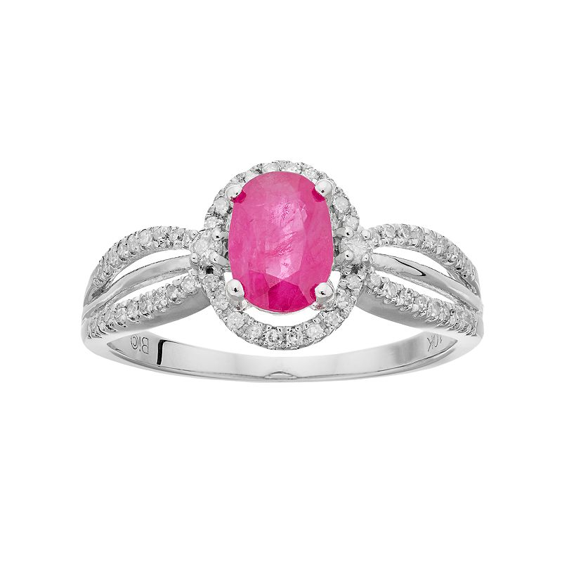 10k White Gold Ruby & 1/5 Carat T.W. Diamond Halo Ring