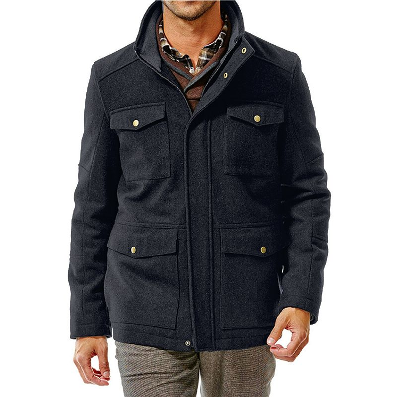 Big & Tall Haggar® Quilted Melton Wool Blend Four-Pocket Military Jacket