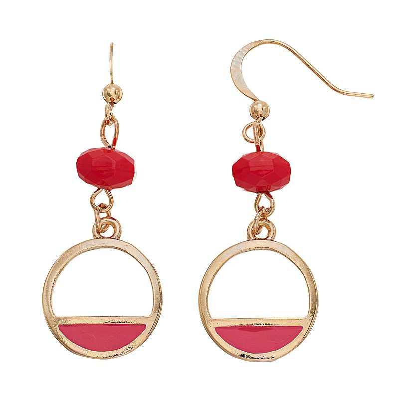 Pink Beaded Circle Drop Earrings