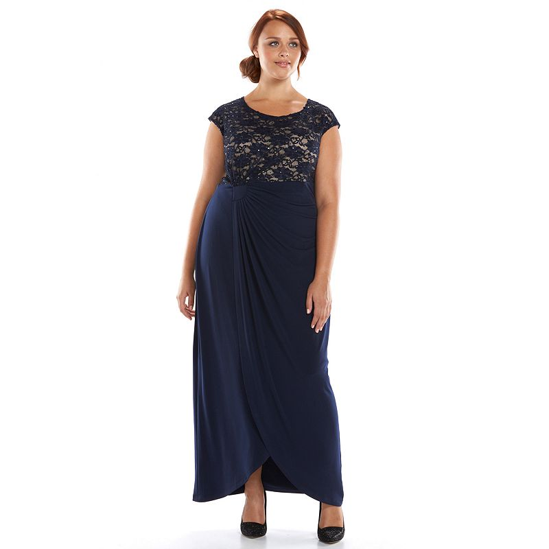 Plus Size Connected Apparel Embellished Lace Faux-Wrap Evening Gown