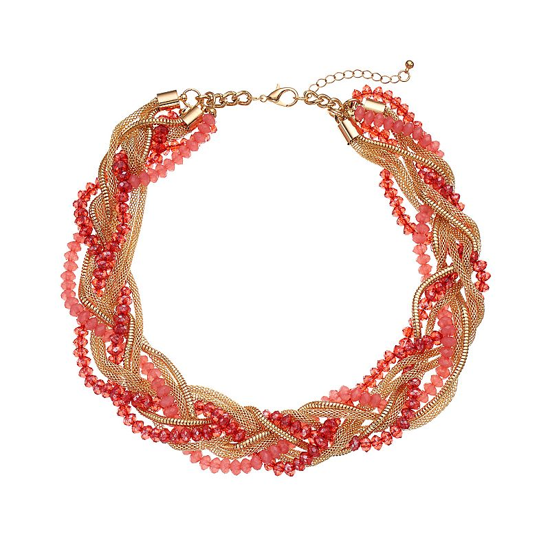 Braided Mesh & Pink Beaded Chunky Necklace
