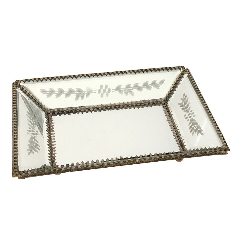 Stonebriar Collection Etched Glass Mirror Tray