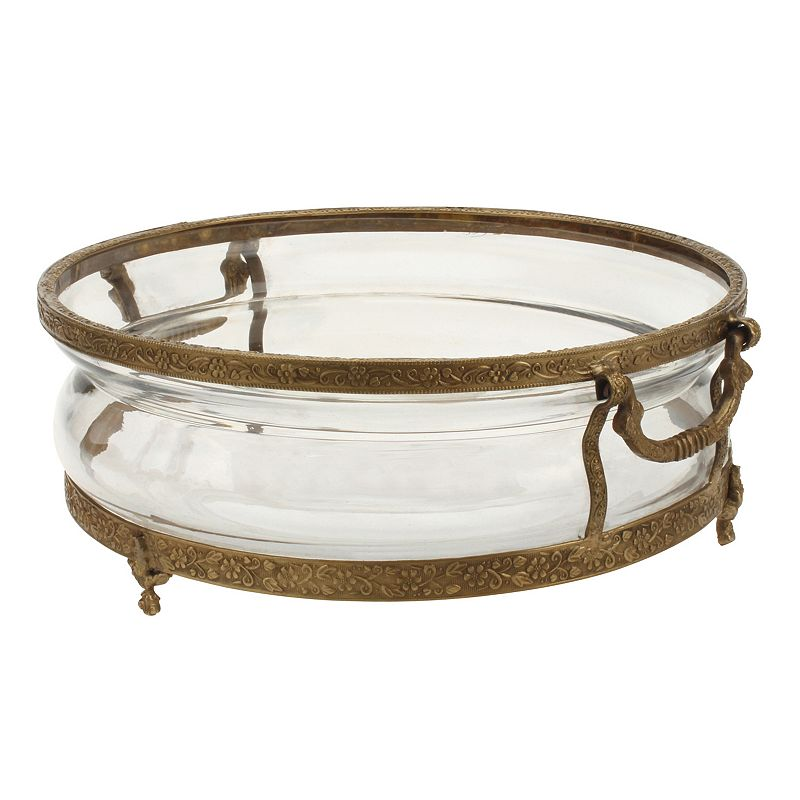 Stonebriar Collection Industrial Round Metal & Glass Tray