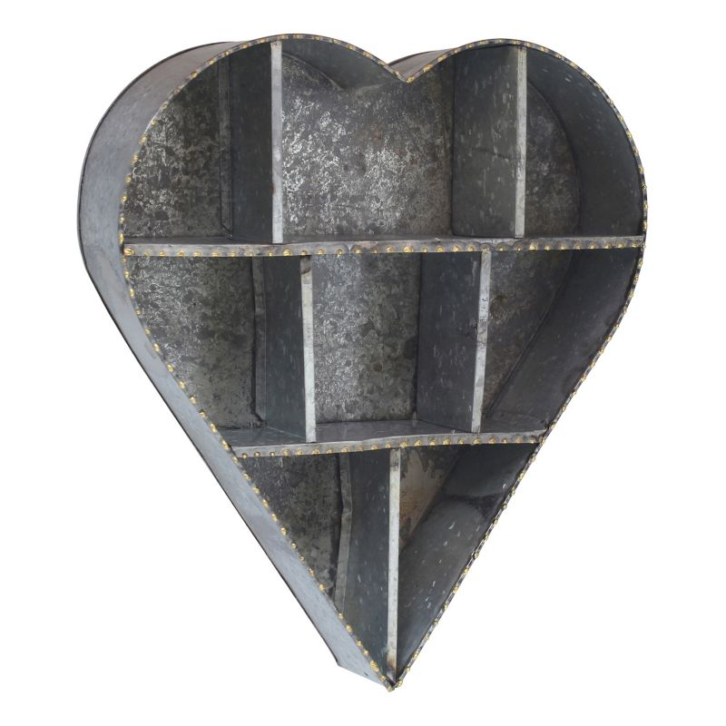 Stonebriar Collection Heart Shape Galvanized Metal Wall Shelf, Silver