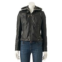 Juniors' J-2 Faux-Leather Hooded Jacket