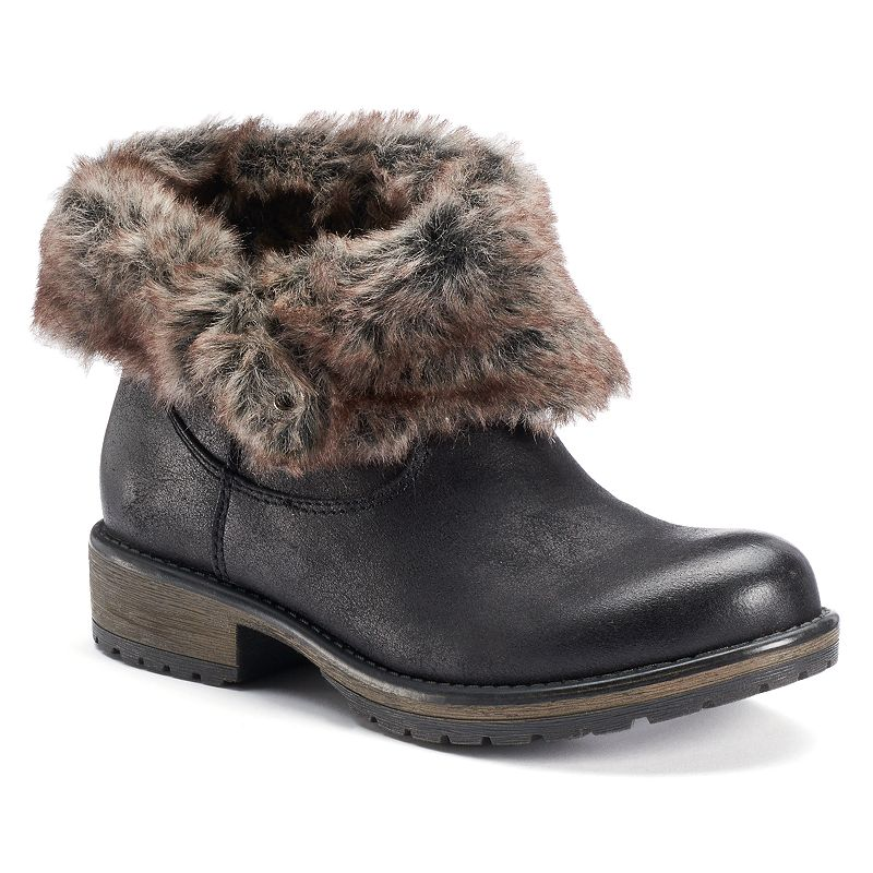 Candie's® Women's Fold-Over Faux-Fur Ankle Boots
