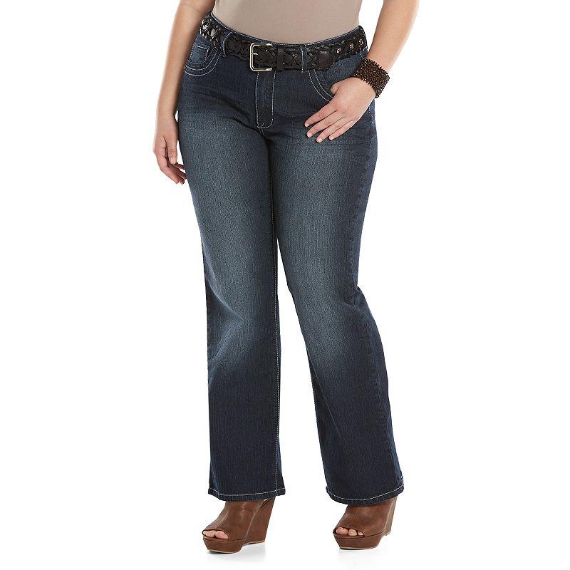 Juniors' Plus Size Angels Bootcut Jeans with Belt