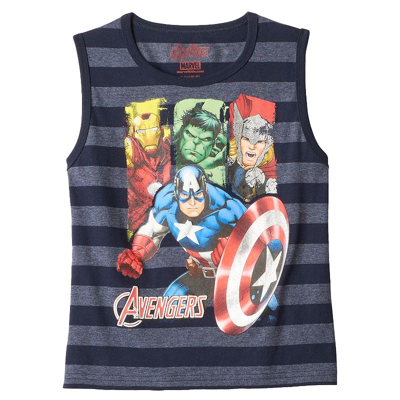 Boys 4-7 Marvel Avengers Striped Muscle Tank