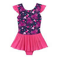 Girls 4-14 Jacques Moret Bow & Hearts Skirtall Leotard