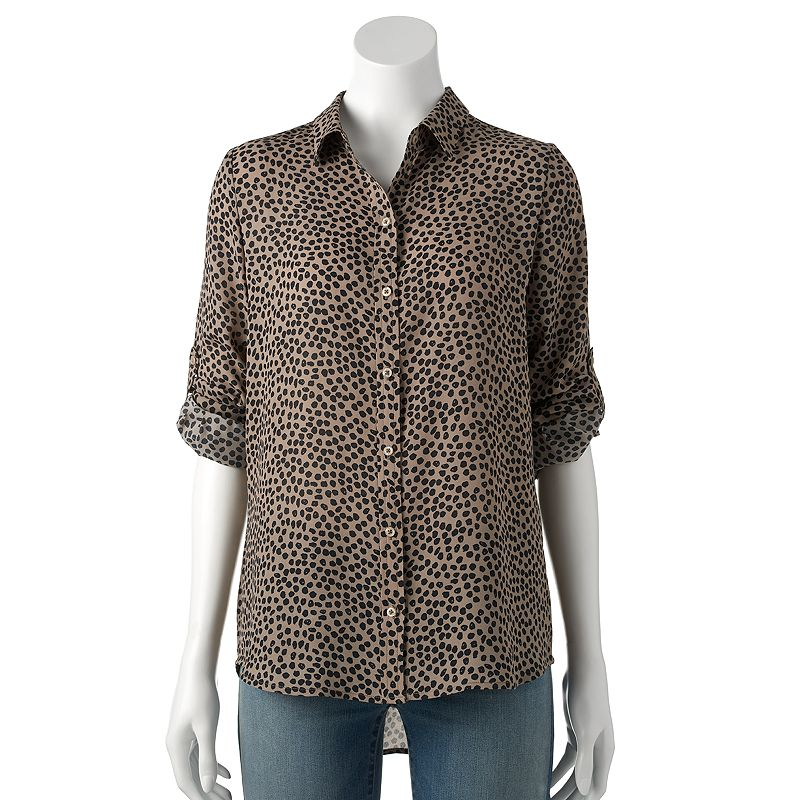 Women's Apt. 9® Dot Roll-Tab Blouse