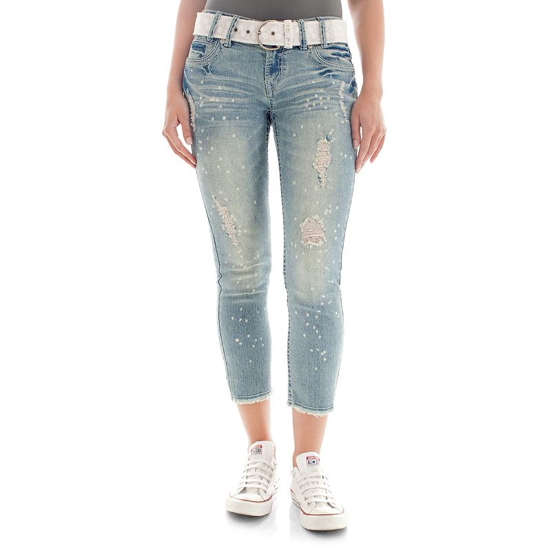 Juniors' Wallflower Curvy Destructed Bleach Spot Denim Capris