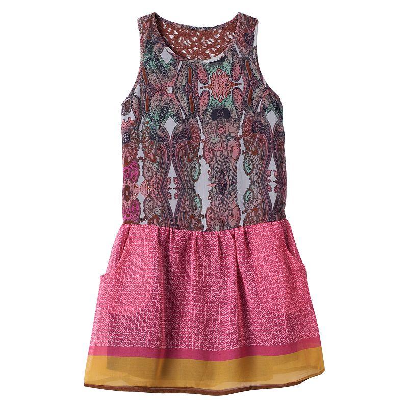 Girls 7-16 Fire Paisley Drop-Waist Tank Dress