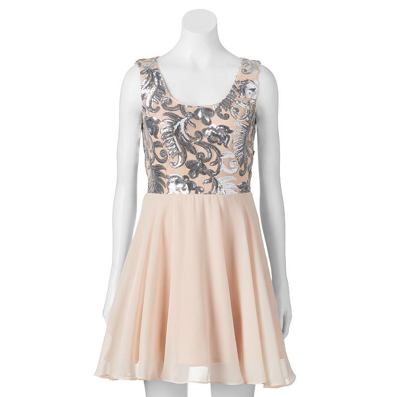 Juniors' Lily Rose Sequin & Chiffon Dress