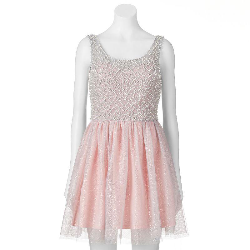 Juniors' Lily Rose Glittery Chiffon Dress