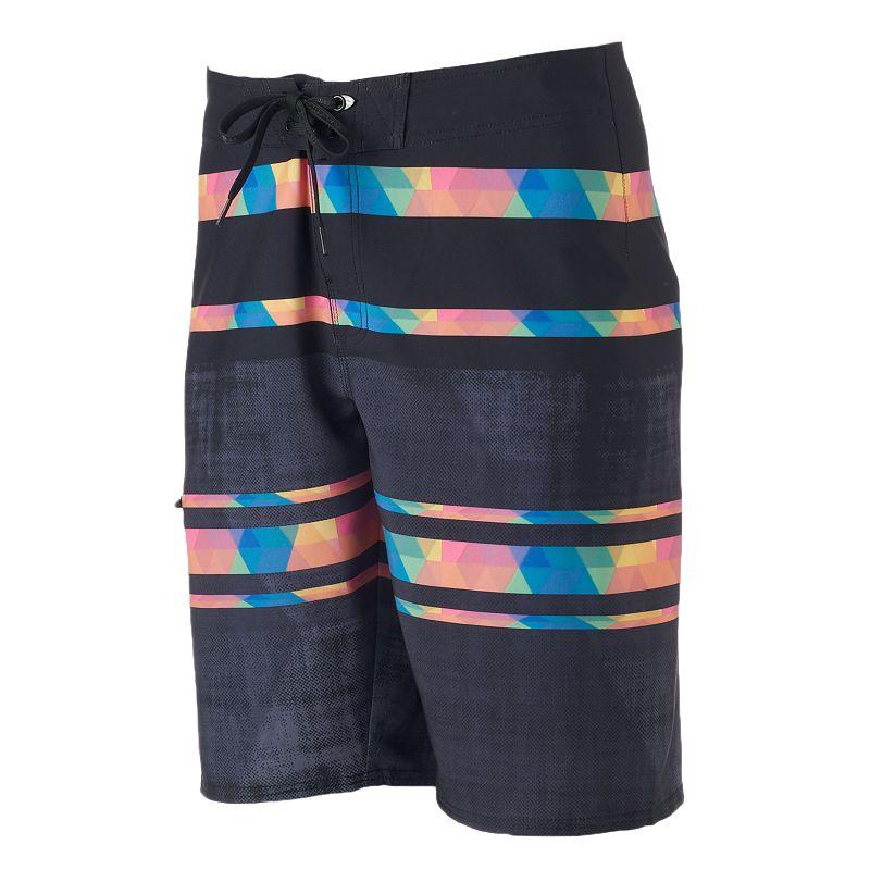 Men's Hang Ten Black Print Stretch Cargo Board Shorts
