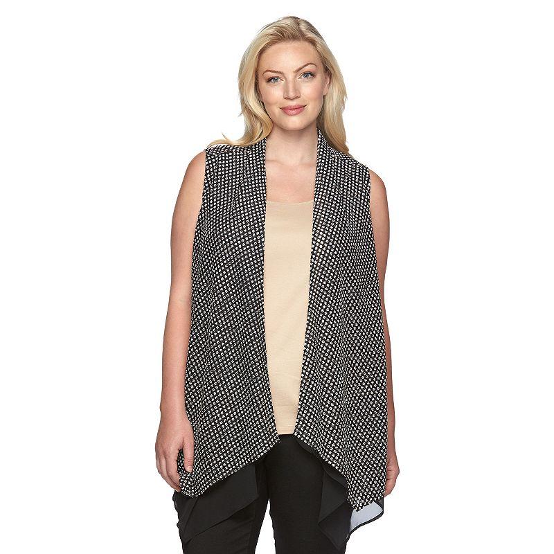 Plus Size Dana Buchman Asymmetrical Flyaway Vest