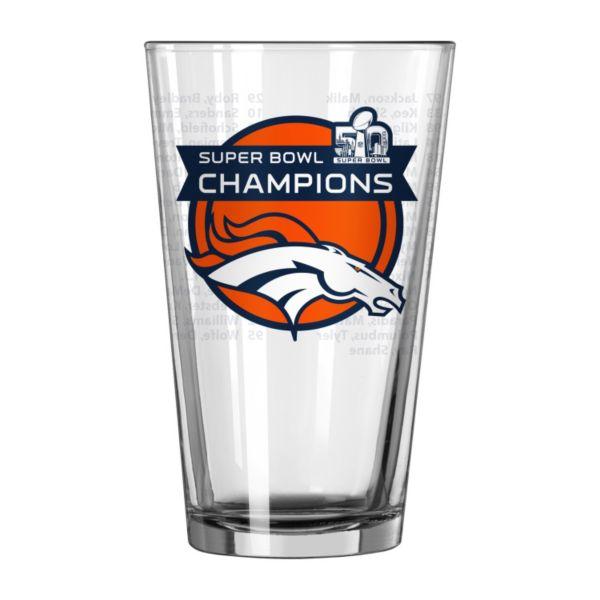 Denver Broncos Super Bowl 50 Champions Roster Pint Glass