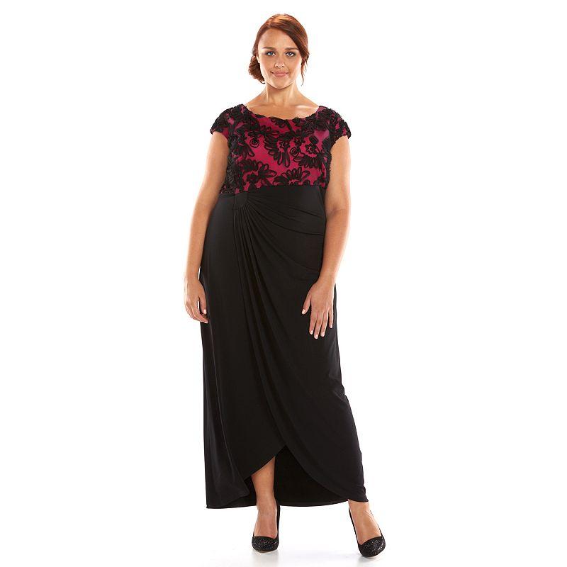 Plus Size Connected Apparel Soutache Faux-Wrap Dress