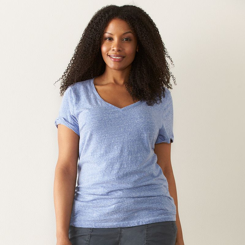 Plus Size SONOMA Goods for Life™ Essential Pointelle V-Neck Tee