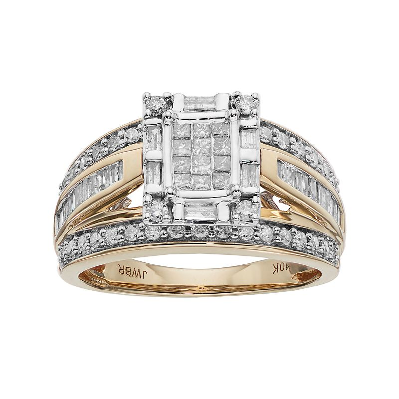 10k Gold 1 Carat T.W. Diamond Square Halo Engagement Ring