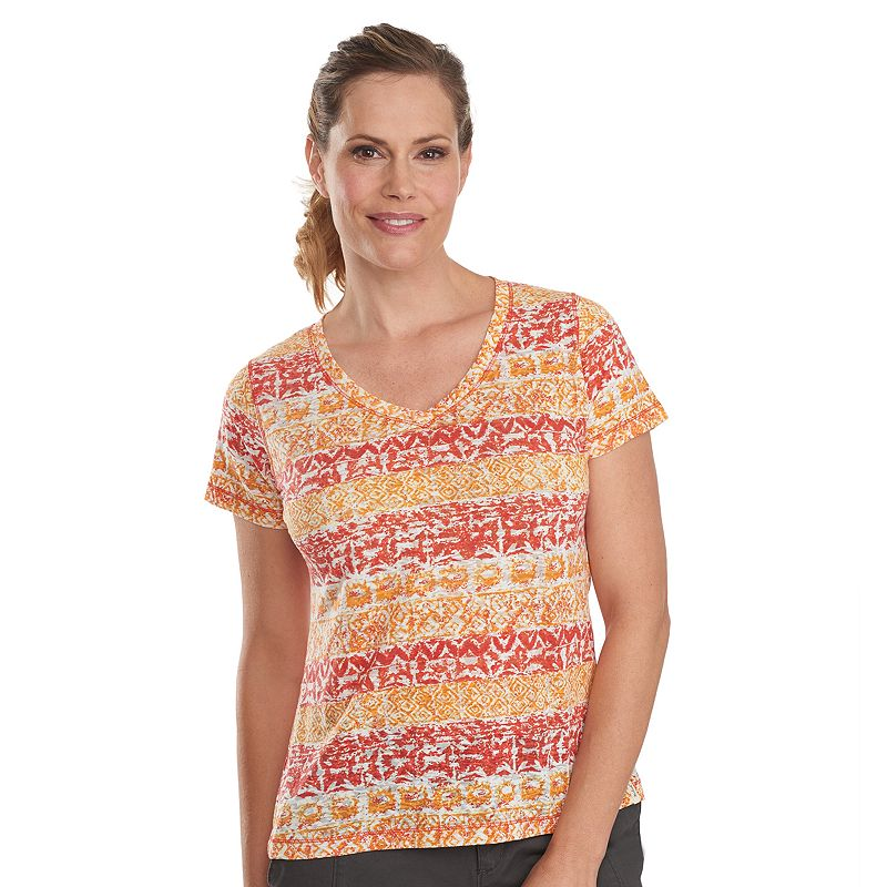 Women's Woolrich Endless Spaces Printed Burnout V-Neck Tee